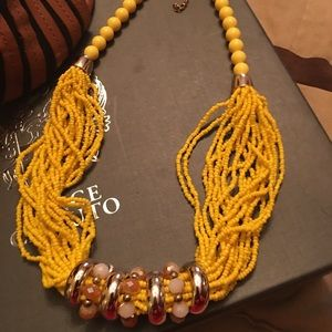 Beautiful Chunky Yellow 7 Ring Necklace